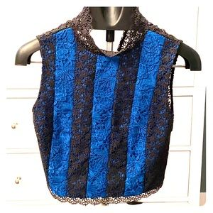 DVF sleeveless laced crop blouse